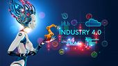 Concept Industry 4.0. Artificial Intelligence Automation Of Product Manufacturing On Smart Factory.  poster