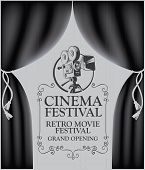 Vector Cinema Festival Poster With Black Curtains And Retro Movie Camera. Movie Background With Word poster