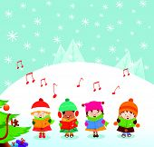 stock photo of christmas song  - Cute little caroler kids singing christmas songs - JPG