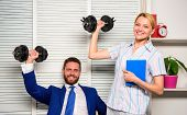 Boss Businessman And Office Manager Raise Hand With Dumbbells. Strong Business Team. Healthy Habits  poster