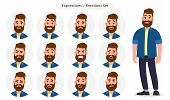Set Of Male Facial Different Expressions. Man Emoji Character With Different Emotions. Emotions And  poster