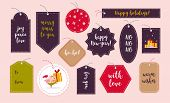 Vector Collection Of Christmas Gift Tags And Badges Isolated On Light Background. Emblems For Xmas H poster