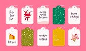 Vector Collection Of Christmas Gift Tags And Badges Isolated On Pink Background. Emblems For Xmas Ho poster