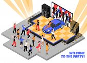 Welcome To The Party Isometric Vector Illustration With Rappers Performing Rap Music On Stage And Da poster