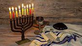 Jewish Holiday, Holiday Symbol Hanukkah Brightly Glowing Hanukkah Menorah Shallow Depth Of Field poster