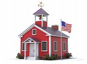 stock photo of school building  - School house and american flag over white background - JPG