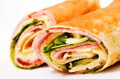 stock photo of sandwich wrap  - Wrap sandwich over white - JPG