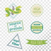 High Fiber Label Collection Isolated On Transparent Background. Emblems For Products That Contain Hi poster