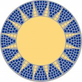 pic of marquetry  - sun in mosaic with grey blue and yellow - JPG