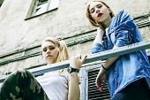 Couple Of Teenage Girls Ouyside On Streets Chilling, Lifestyle P poster