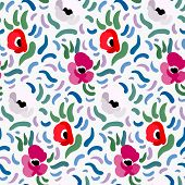 Seamless Pattern Of Red, Pink And Pale Beige Anemone Flowers In Post-impressionism Style poster