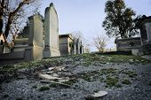 picture of life after death  - Old tombstones in a cemetery - JPG