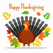 Happy Thanksgiving Concept Background. Flat Illustration Of Happy Thanksgiving Vector Concept Backgr poster
