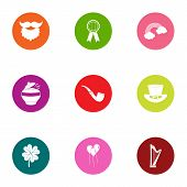 Evening Leisure Icons Set. Flat Set Of 9 Evening Leisure Vector Icons For Web Isolated On White Back poster