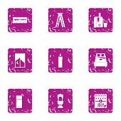 America Rest Day Icons Set. Grunge Set Of 9 America Rest Day Vector Icons For Web Isolated On White  poster