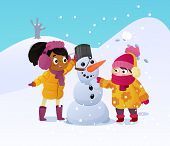Happy Kids Playing With Snowman. Funny Little Girs On A Walk In The Winter Outdoors. Children Buildi poster