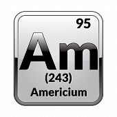 Americium Symbol.chemical Element Of The Periodic Table On A Glossy White Background In A Silver Fra poster