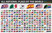 All Official National Flags Of The World . Sticky Note Design . Vector . poster