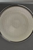 Close Up Black Stereo Box With Round Speaker. Detail Of Large Audio Speaker. Audio Equipment For Con poster