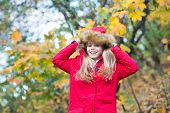 Hide Above Cozy Hood Or Cape. Child Blonde Long Hair Walking In Warm Jacket Outdoor. Girl Happy In C poster