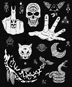 Design Set With Scary Gothic And Mystic Symbols - Skull, Dolphin, Cat, Snake. Esoteric, Occult And H poster