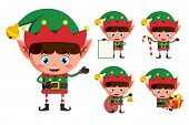 Christmas Elves Vector Character Set. Young Boy Elf Cartoon Characters Holding Christmas Elements An poster