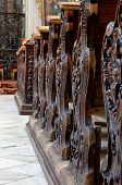 pic of pews  - Detailed view of an old wooden church pews - JPG