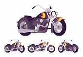 Chopper Custom Motorcycle Bright Black Set. Motor Vehicle, Big, Heavy Machine In Classic Design With poster