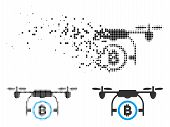 Bitcoin Airdrone Icon In Fractured, Pixelated Halftone And Solid Variants. Particles Are Organized I poster