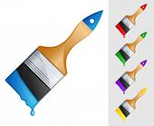 picture of paint brush  - vector illustration of brush with paint - JPG