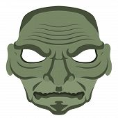 Isolated Halloween Zombie Mask. Vector Illustration Design poster