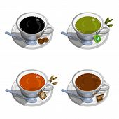 Hand Drawn Hot Coffee Cup. Hot Drinks. Cup Of Tea Logo. Food And Drink. Green Tea Cup. Set Of Hot Dr poster
