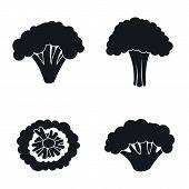 Farm Broccoli Icon Set. Simple Set Of Farm Broccoli Vector Icons For Web Design On White Background poster