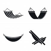 Relax Hammock Icon Set. Simple Set Of Relax Hammock Vector Icons For Web Design On White Background poster