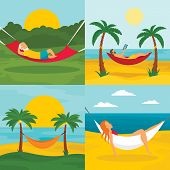 Rest Hammock Banner Set. Flat Illustration Of Rest Hammock Vector Banner Set For Web Design poster