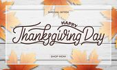 Thanksgiving Day Sale. Banner Design For Thanksgiving Sale, Promotion, Etc. Thanksgiving Day Letteri poster