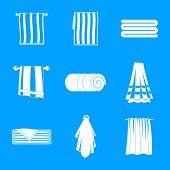 Towel Hanging Spa Bath Icons Set. Simple Illustration Of 9 Towel Hanging Spa Bath Vector Icons For W poster