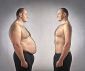 foto of grease  - Fat man in front of a fitter one - JPG