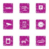 Guard Parking Icons Set. Grunge Set Of 9 Guard Parking Vector Icons For Web Isolated On White Backgr poster