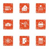 Scientific Paper Icons Set. Grunge Set Of 9 Scientific Paper Icons For Web Isolated On White Backgro poster