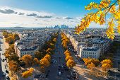 Panoramic Skyline Of Paris City Towards La Defense District From Above At Fall, France poster