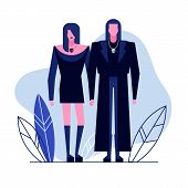 Colorful Flat Characters, Subculture Music Genre Apparel Style Concept.flat People, Man And Women In poster