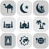 Religion Icons Set With Camel, Palms, Mecca And Other Building Elements. Isolated Vector Illustratio poster