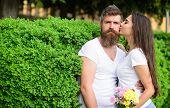 Gentle Kiss. Man Bearded Hipster Hugs Gorgeous Girlfriend. Couple Love Romantic Date Walk Nature Par poster