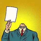 Information Help Cowardly Businessman. Business Finance. Comic Cartoon Pop Art Retro Vector Illustra poster