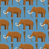 Mammoth Vector Mammal Animal Character With Tusk And Trunk In Ancient Stoneage Illustration Of Prehi poster