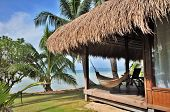 stock photo of beach-house  - Cottage with Seaview on Tropical Beach - JPG