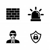 Security Safety. Simple Related Vector Icons Set For Video, Mobile Apps, Web Sites, Print Projects A poster