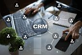Crm. Customer Relationship Management Concept. Customer Service And Relationship. poster