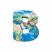 World Earth Globe Alphabet Letter B Uppercase. Global Worldwide Font With Nasa Map. 3d Render Isolat poster